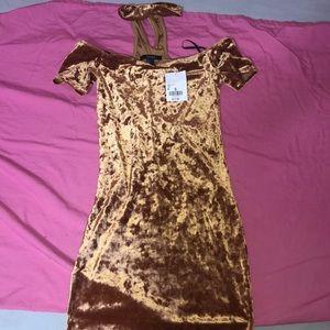 Off The Shoulder Crushed Velvet Mini Dress